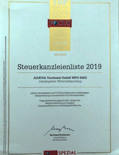 Focus- Spezial: ADJUVA Treuhand GmbH zählt zu den Top-Steuerkanzleien Deutschlands